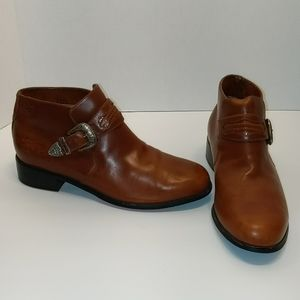 Ariat Tan Leather Western Booties w Buckle sz 9.5B